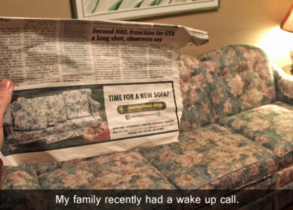 collegehumor:  Family Gets Wake Up Call About New Couch Mommy, where do Hawaiian shirts come from?
