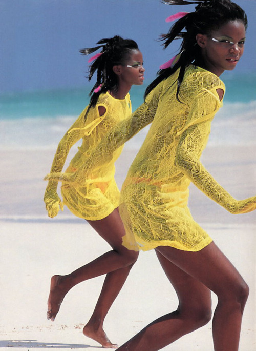 """Glare Wear"", Cosmopolitan US, July 1998Photographer : Hans FeurerModel : Tomiko Frasier"