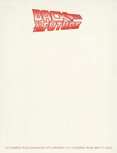 letterheady:  Back to the Future, 1985 | Source Studio letterhead used during production of Back to the Future in the mid-'80s.