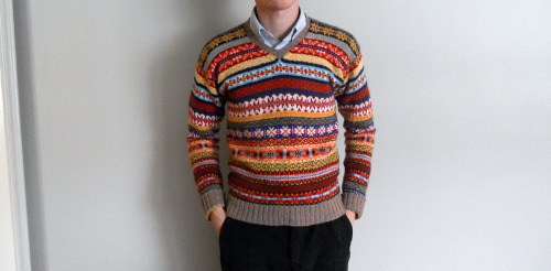 dudesthatknit:  Knit Note: Men can knit too! nigel: I finished knitting this sweater last week. It took me nine months, but I think it was worth it. More photos and project info are on Ravelry.