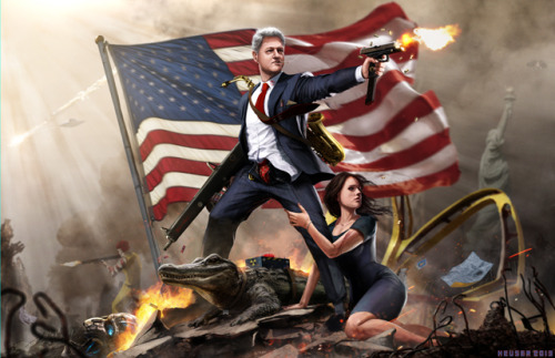 laughingsquid:  Illustration of Bill Clinton Battling Foes to Protect His Guns, Women and Burgers by Jason Heuser