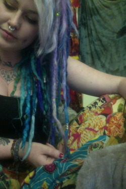 i got bored so i dyed all my locs blues and greens and purples. taking wanting to be a mermaid to the next level…
