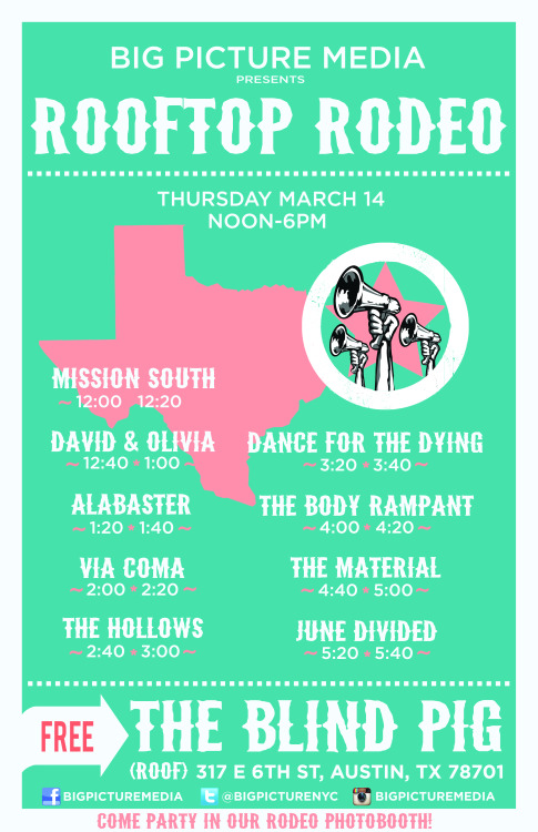 We're excited to be playing The Big Picture Media Rooftop Rodeo during SXSW Music Fest. This show is FREE and open to the public!