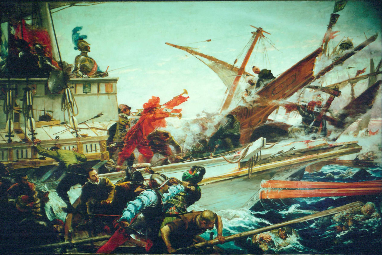 The Spanish Senate commissioned the award-winning painter Juan Luna to do a painting of the Battle of Lepanto, thanks to the influence of King Alfonso XII of Spain. One would wonder, if Luna had connections with the Spanish royalty, did he ever mention the aspirations of the Ilustrados for equality and for a Philippine representation in the Spanish Cortes to the Spanish king? Or was he complacent like some Ilustrados? Curious. The Battle of Lepanto was fought by Spanish and Ottoman forces on October 7, 1571 (five decades after Magellan landed on the Philippine shores). A clash of worldviews and cannons.  pupuplatter:  Juan Luna, Combate Naval de Lepanto (7 de Octubre de 1571), 1887, Palacio del Senado de España