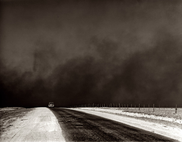 Texas Panhandle 1936 Under heavy black clouds of dust