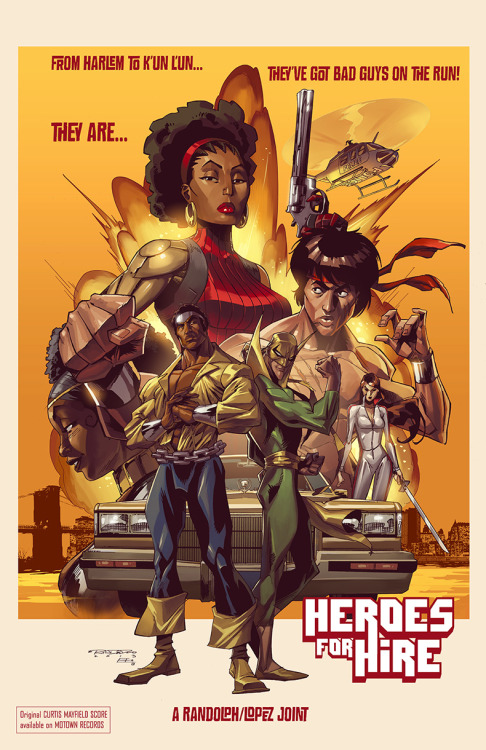 insanityiscolorblind:  kharyrandolph:  Heroes for Hire by Khary Randolph & Emilio Lopez.  …why is this not a movie. Like make it a movie! Make it an animated one at that.