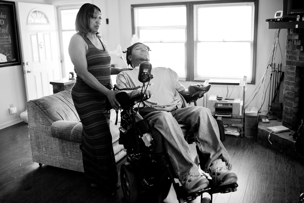Yesterday I met and photographed a man named Tre, who was paralyzed from the neck down six years ago at 17 from a gunshot wound. Whether he was the intended target or not remains unclear, as his shooter has never been found to face charges, but Tre was an innocent victim who was a good student and not involved with gangs.  What's more, despite his situation, Tre says he feels blessed, because there's always someone who is going to have it worse than him. He's in the running to win a new van to help him get around, which is being given away as part of National Mobility Awareness Month, and today is the last day to vote for him. You can read more about Tre and see more photos in the Beacon, and you can vote for him here. Note: you must agree to the terms for voting, but you can deselect the option to receive further updates if you don't want to receive them. But please do Tre a solid and vote, he deserves to be as independent as he can.