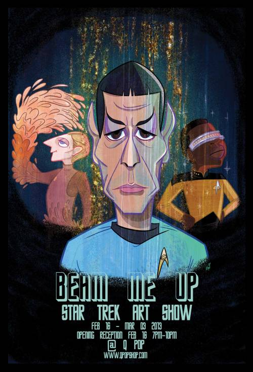kalikazoo:  STAR TREK ART SHOW! At QPop in Little Tokyo Downtown Los Angeles Saturday February 16th reception 7pm-10pm! Open through March 3! There will be a costume contest with surprise guests! Grilled Cheese Truck will be replicating food!!! Kelsy Abbott, Oliver Akuin, Aaron Alexovich, Patrick Awa, Nick Bachman, Jay Baker, Eric Bauza, Zach Bellissimo, Tara Billinger, Jessica Borutski, Pete Browngardt, Chikuwaemil, Myke Chilian, Joey Chou, Steven Chunn, Victor Courtright, Cheyenne Curtis, Matt Danner, Kevin Dart, Louie Del Carmen, Layron DeJarnette, Yok d'Holbachie, Becky Dreistadt, Brianne Drouhard, Kinoko Evans, Kali Fontecchio, Tiffany Ford, Kate Freund, Doug Gauthier, Jenny Goldberg, Ellis Goodson, Natalie Hall, Glenn Harmon, Thorsten Hasenkamm, Kassandra Heller, Alex Hirsch, Marty Ito, Robert Iza, Parker Jacobs, Lincoln Kamm, Seo Kim, John Kricfalusi, Jasmin Lai, Santino Lascano, Carrie Liao, Stuart Livingston, Frank Macchia, Pakoto, Tatsuro Maruyama, Ruriko Maruyama, Aki Morishima, Zoe Moss, Erin McGathy, Scott Morse, Sho Murase, Ryan Nagata, Naoshi, Bryan Newton, Michelle Park, Jorsh Pena, Plasticgod, Deanna Rooney, Paul Rudish, Johnny Ryan, Phil Rynda, Chris Sasaki, Griselda Sastrawinata, Jeremy Sengly, Shawn Dickinson, Andy Suriano, Yukinao Takashima, Matt Taylor, Jack Teagle, Dan Bob Thompson, Lissa Treiman, Michal Wright Ward, Julia Vickerman AND EVEN MORE!!!!!  Tons of cool peeps will be in this show! Including myself. Be sure to come!~