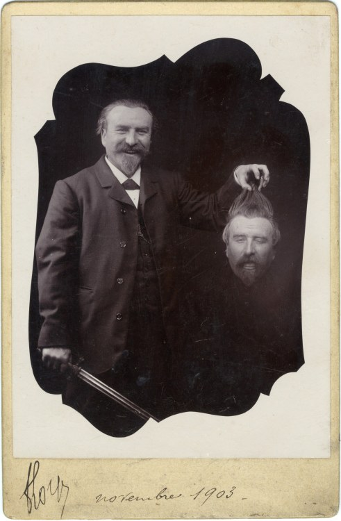 ca. 1903, [gelatin silver print, portrait of a smiling bearded gentleman with a sword, holding his own decapitated head] via the Metropolitan Museum of Art, Faking It: Manipulated Photography Before Photoshop