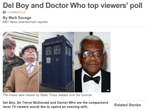 """The Radio Times conducted a poll to find people's """"ultimate TV schedule"""" for its 90th birthday. Of the six winners, only Blue Peter and Doctor Who are still on the air, with both running for several decades. The full schedule comprised the following programmes: Children's:Blue Peter Entertainment:The Morecambe & Wise Show Comedy:Only Fools And Horses Drama:Doctor Who Documentary:Around the World in 80 Days News:Sir Trevor McDonald """"It's a pretty good representation,"""" said Boyd Hilton, TV critic from Heat Magazine. """"They're all solid, hugely influential shows."""" """"Doctor Who is absolutely unique. It's an incredible achievement that it's lasted for 50 years and been entertaining families for that long."""""""
