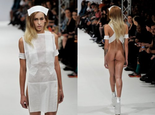 Alice Dellal Lets It Hang Out At Pam Hogg Spring 2013 Show  … Pam Hogg sent her spring 2013 collection down the catwalk at the Vauxhall Fashion Scout venue in Freemasons' Hall on Monday, which featured a number of wild outfits. Some reminded us of Sexy Mighty Morphin' Power Rangers (not necessarily in a bad way.) Others reminded us of the Louis Vuitton nurse uniforms from 2008. Still, others just showed us a plentiful flash of booty. 25-year-old model, socialite and Chanel face Alice Dellal strutted down the runway in ombre hair and a white hat. But when she turned around, we realized her white frock wasn't all it appeared to be in the front. In other words, there was no back. …   More in the full article at Huff Post Style