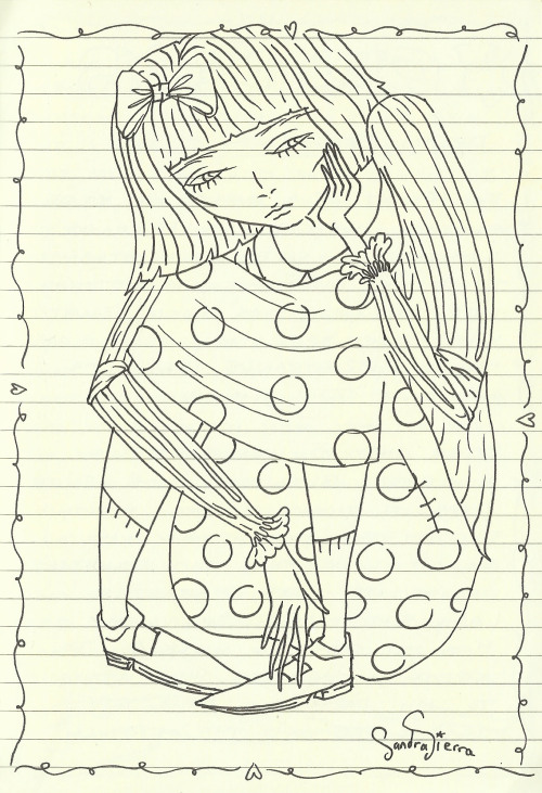 Another drawing from my journal, I think she's thinking about something..or someone.