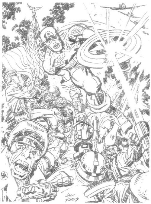 brianmichaelbendis:  Pencil drawing of Captain America done by Jack Kirby for Jim Steranko, and published in THE STERANKO HISTORY OF COMICS Volume 1