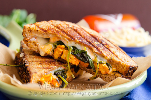 yackattack:  An nontraditional grilled cheese, complete with buffalo tempeh and melty vegan mozzarella! You can find the recipe at Vegan Yack Attack!