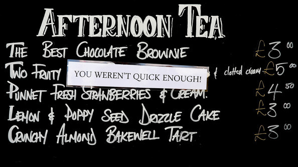 A view of the afternoon tea sign during the Yorkshire Bank 40 match between Unicorns and Gloucester at Wormsley Cricket Ground. You weren't quick enough!! Getty