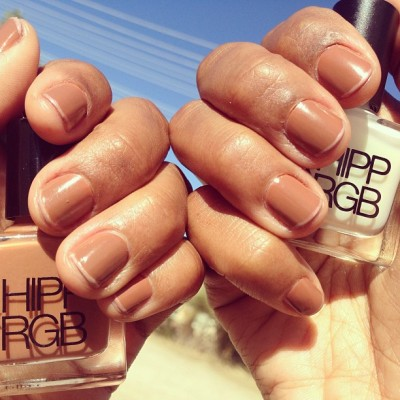 "#HIPPxRGB Nail Foundation ""F3"" tipped with #Highlight @rgbcosmetics @nailinghwood #spring13"