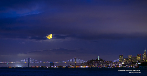 dlyt3ful:  Moonrise over San Francisco by davidyuweb on Flickr.