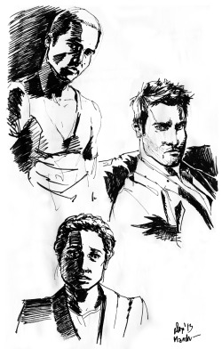 Pen and ink doodles of some actors of the Teen Wolf cast.