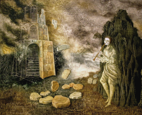 surrealism:  The Flautist by Remedios Varo, 1955. Oil on canvas.