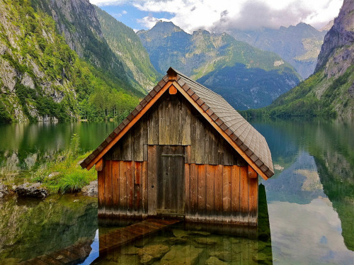 mountainish:  The little boathouse on the Obersee lake in the Berchtesgaden National Park (by echumachenco)