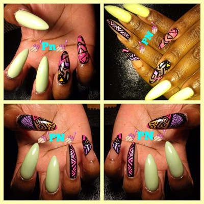 💅💅 #tribals #nails #nailart #stillettonails #PN #PicasoNaiLs #abstract