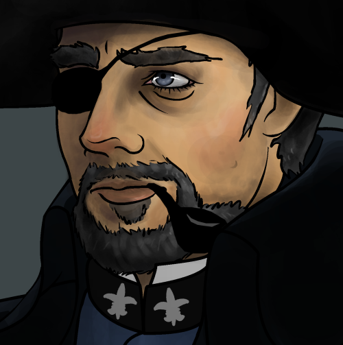 AlternateUniversEyepatchJavert based around the picture i drew where i fucked up his eye and didn't know how else to fix it  also he smokes a pipe
