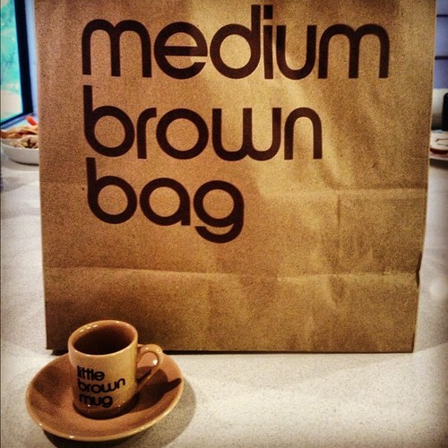 Medium brown bag & little brown mug #miami #igersmiami #secretsanta #bloomingdales #brown #brownbag
