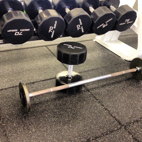 My workout today: Upright row-3x10 Military press-3x10 Hanging leg lifts (toe to bar)-3x12 Swiss ball supermans-2x20 Hanging weighted knee ups-2x15 Incline dumbbell press-4x10 Dumbbell flys -4x10 Medicine ball rollout-3x15 #fitness #workout #gym #exercise