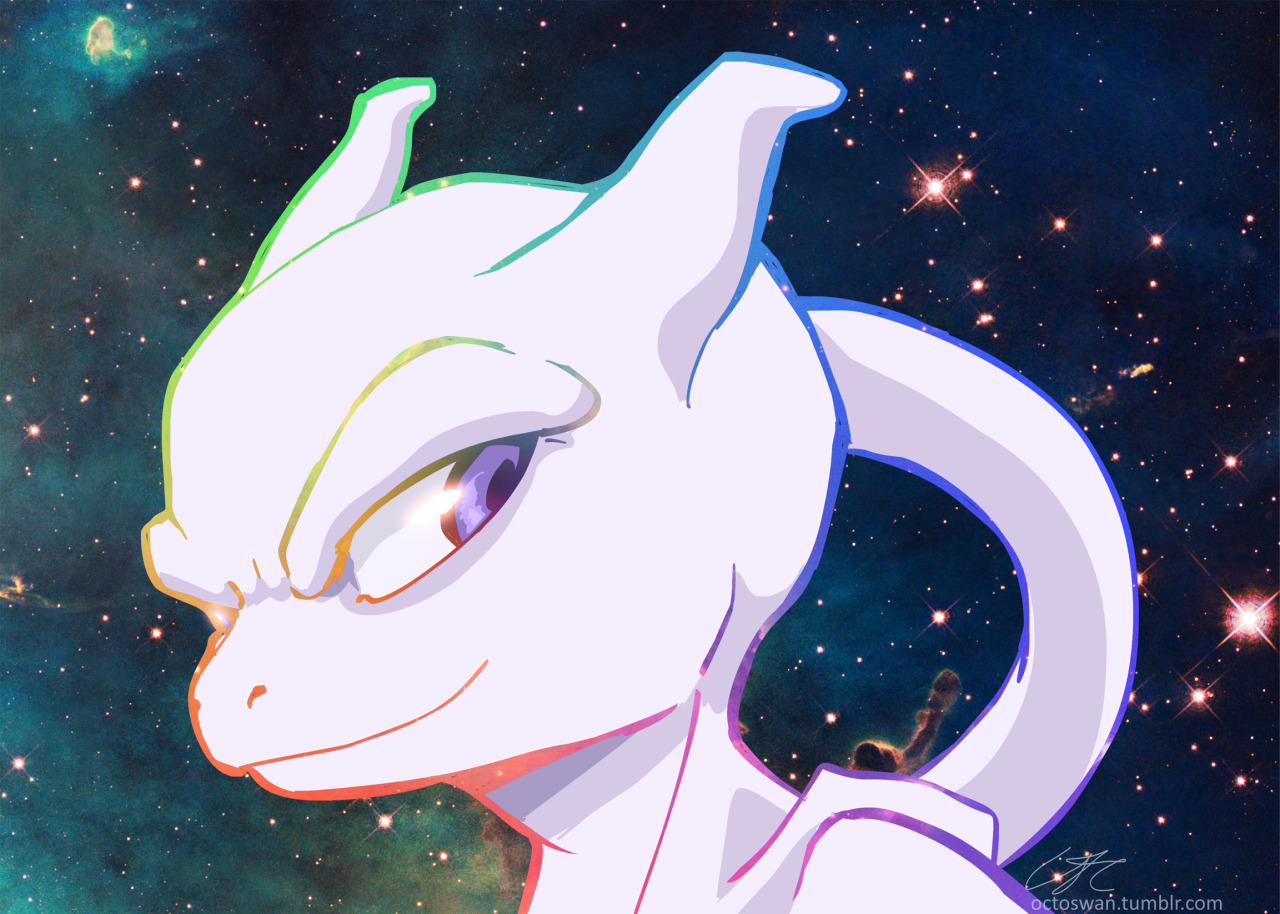 octoswan:  To cheer myself up I drew a new mewtwo icon which ended up being a much bigger drawing. Yay for generic space backgrounds! Anyway, new icon!
