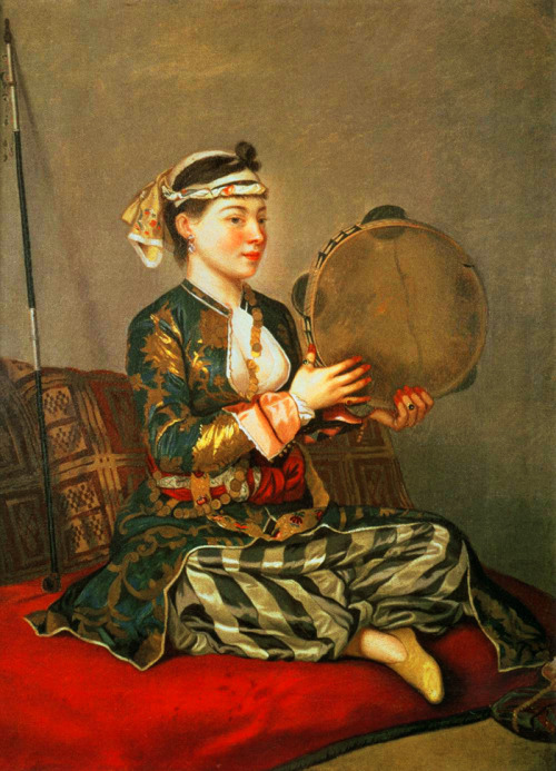 jaded-mandarin:  Jean-Etienne Liotard. Turkish Woman with a Tambourine, 1738-43.