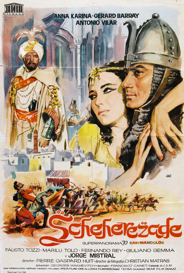 Shéhérazade 1963 IMDB · Wikipedia · Related media Director Pierre Gaspard-Huit Starring Anna Karina, Gerard Barray, and Antonio Vilar Includes 1.58 GB ZIP file containing an AVI file and an English subtitle file   This film has never been released on any home video media and has been virtually forgotten over the years- a shame, considering it's not half bad. Danger, romance, and action abound in this nicely photographed, quintessentially 60's epic. Look for a cameo from Anna's then-husband Jean-Luc Godard as a beggar who walks on his hands in one of the marketplace scenes.  Download