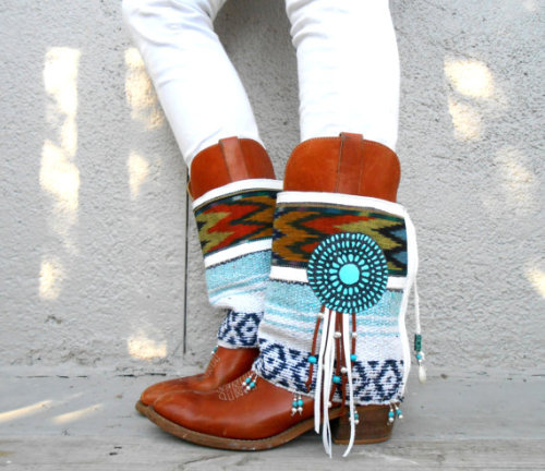 Desert Angel Boot cuffs…Lliving for Boho white and turquoise!!