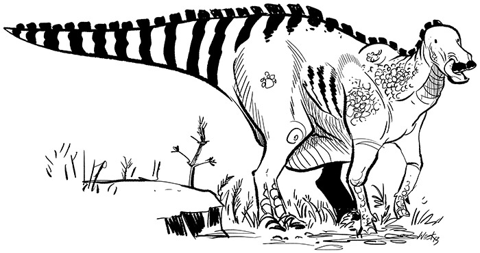 I'm obsessed with cow-like hadrosaurs cleaning out their nostrils with their tongues. I blame All Yesterdays. My anatomy is still absolute crap, but it's fun applying some serious cartooning to dinosaurs. Hoping to do something with some real life and motion - this study still seems pretty stiff to me.