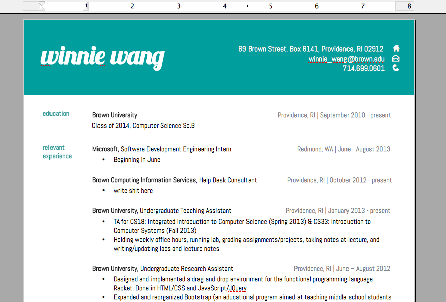 Currently in the process of making my resume prettier (previously this).   I am enjoying this a lot.  I now really want to buy a website just so I can create a layout for it.