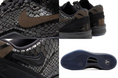 Nike Kobe 8 EXT - Year of the Snake black scaled uppers with some brown accents on a blue sole.  crazy looking sneaker with that lifestyle concept to them.  click here for more pics, and grab these March 9th
