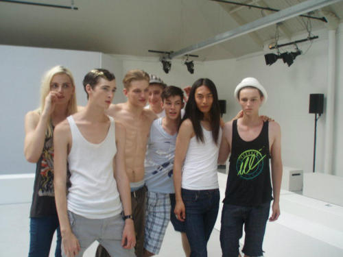 Old picture of Andrej Pejic, Corentin Renault, Sebastian Sauve, and David Chiang after Quasimi Show in Paris. Photo by @maryyasmine via @CorentinRenault
