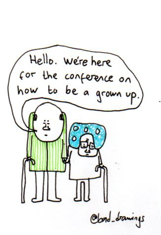 baddrawingsofmydailylife:  Being grown up was still a mystery for them. For @RachelFersh