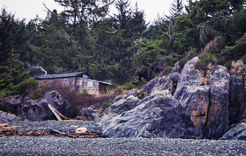 A beachside cabin, Gordon's Beach, West Coast Road, Sooke, Vancouver Island, British Columbia, Canada (by brodieguy)