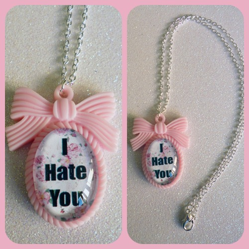 calamityjaynedesigns:   I Hate You Cameo Necklace http://calamityjaynedesigns.bigcartel.com/