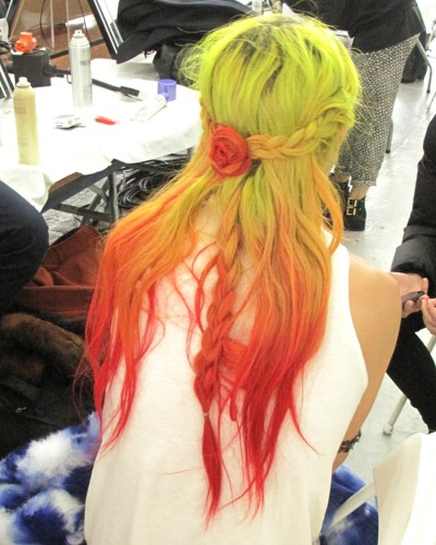 jaimen:  NYFW: Rodarte (Hair) /// a quick look at the beautiful braided hair seen at Rodarte. i had a chance to slip back stage and see the hair, done by odile gilbert and assisted by my very own sister, b brill up close. the image above is of  chloe norgaard, who walked exclusively for Rodarte this season. xoxo.