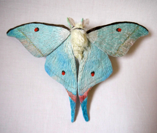 therhumboogie:  By Yumi Okita, these gorgeous hand embroidered moths are deceptively large with some reaching almost a foot wide, the technical sewing skills you can see on the wings are perfection and such beautiful variety.
