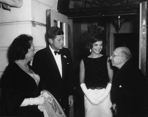 President Kennedy was the first president to make arts and pop culture a priority in the White House. In honor of that tradition, we are teaming up with Boston's first ever multi-day, multistage rock festival -Boston Calling- to giveaway three sets of VIP weekend passes. Follow us on Facebook or Twitter this Thursday, Friday and Saturday at 10am to enter for your chance to win tickets to this sold out event!   Pictured: JFK and Mrs. Kennedy greet composer Igor Stravinksy and his wife Vera de Bosset Stravinsky as they arrive for a dinner party at the White House (Abbie Rowe/JFK Library)