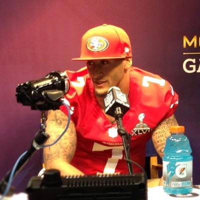 Colin Kaepernick of the San Francisco 49ers answers questions from the mediaduring Super Bowl XLVII Media Day on Tuesday…