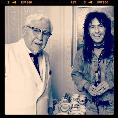 acbandblog:  Col. Sanders and Alice Cooper- the 1970s…. Saw this today on the web and realized just how proud and lucky I am to call the guy on the right my boss :-) … Actually think I might've worked for the other guy on the left at one time during my illustrious 'food services' career … The countdown  to Coop continues :-)