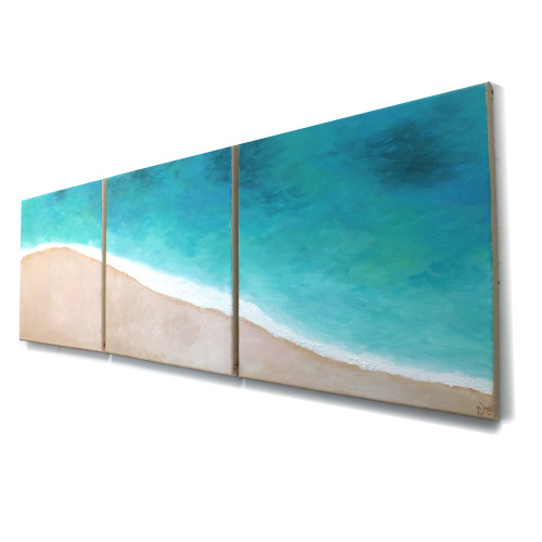 Tropical Shoreline #3Three 12x12 canvas paintings for home or office © nJoy Art https://www.etsy.com/listing/125288211/beach-art-tropical-shoreline-no3-set-of?