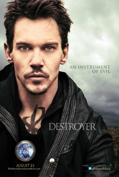 cassandraclare:  Jonathan Rhys-Meyers lets us look deep into his eyes in his character poster for The Mortal Instruments: City of Bones, provided exclusively to JustJared.com. … Read More Here … The full official Valentine poster is up on JustJared.com!  Unf