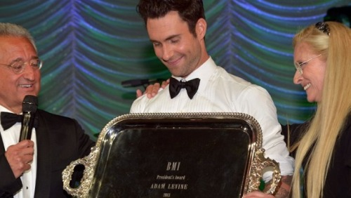 Adam Levine Wins President's Award at BMI Pop Awards Maroon 5 front man Adam Levine is the latest musician to win the coveted BMI President's Award. The Voice coach received the honor at the 61st annual Pop Awards held in Beverly Hills last night. The Pop Awards honor the songwriters and music publishers behind the year's most-performed pop songs.