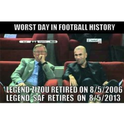 we will miss u Sir Alex Ferguson and Zinedine Zidane #manutd #realmadrid #juventus #france #england #france #football #footballjokes #zinedinezidane #zizou #saf #siralexferguson #reddevil #legend #famous #karmaloop #hypebeast #highsnobiety