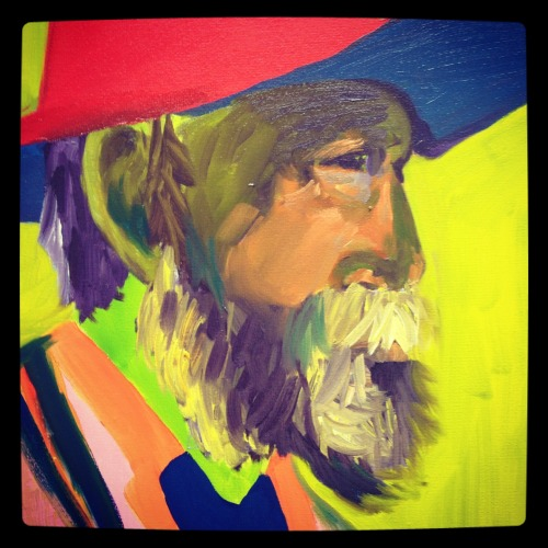 Old man painting based on a Tom Roberts portrait for uni