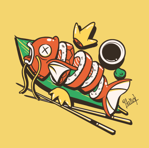 gamefreaksnz:  italiux:  Sushikarp is done! Not so useless after all!You can buy this as a tee here  Artist: Redbubble | deviantART | Facebook